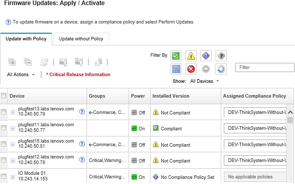 Applying and activating firmware updates - Lenovo XClarity
