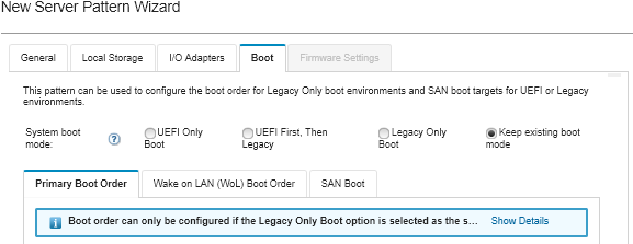 Defining boot options - Lenovo XClarity Administrator
